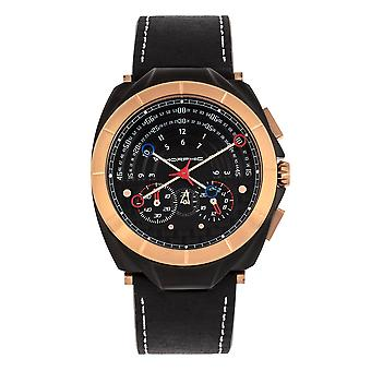 Morphic M79 Series Chronograph Leather-Band Watch - Black