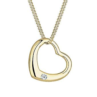 Diamore Necklace with Pendant To Women's Heart Yellow Gold 9K - White Diamond 0 -03ct - Round Cut - 45 cm