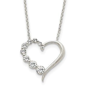 925 Sterling Argent Poli CZ Cubic Zirconia Simulated Diamond Love Journey Necklace 18 Inch Spring Ring Bijoux