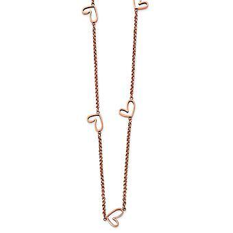 Edelstahl poliert Rose Ip vergoldet hohle Liebe Herz Charm Halskette 38 Zoll Schmuck Geschenke für Frauen