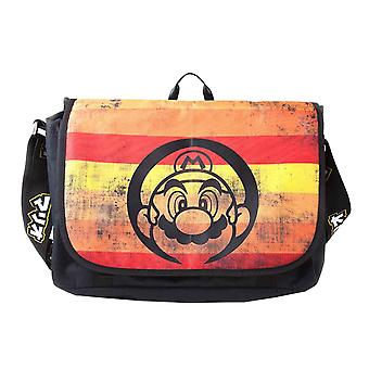 Super Mario messenger bag retro striper logo ny offisiell Nintendo svart
