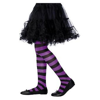 Mädchen lila & schwarz gestreiften Strumpfhosen Fancy Dress Zubehör