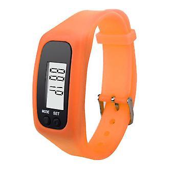 Step counter Pedometer clock model nice to wear-Orange