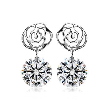 925 Sterling Silver Elegant Rose Drop Stone Earrings