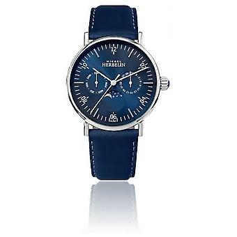 Michel Herbelin Montre Inspiration Moonphase Stainless Blue Leather Strap 12747/AP15BL Watch