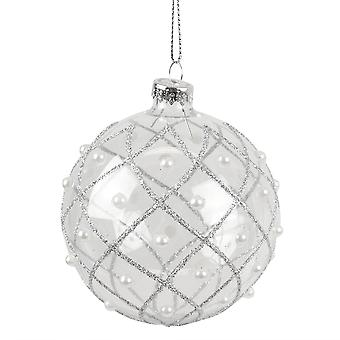 9cm Clear Glass Bauble with Glitter Diamonds and Pearls Tree Decoration