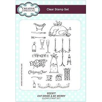 Creative Expressions Eat Drink and Be Merry A5 Clear Stamp Set