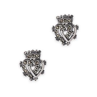 Luckenbooth Love And Loyalty Twin Love Hearts Surmontée Crown Of Mary Queen Of Scots Stud Paire de boucles d'oreilles - Pierres précieuses Marcasite