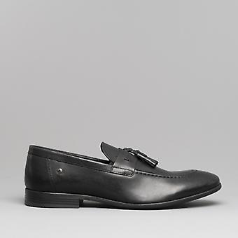Base London Ritz Mens Leather Loafers Waxy Black