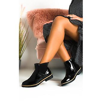 IKRUSH Womens Ola Faux Leather Patent Brogue Chelsea Boots