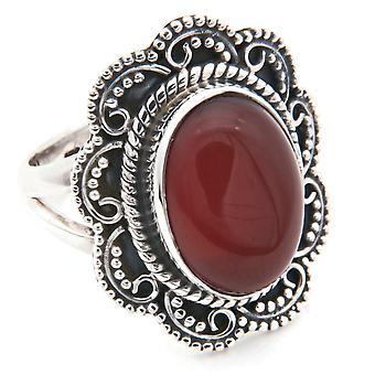 Carnelian ring 925 silver Sterling Silver kvinnors ring orange röd (MRI 106-16)