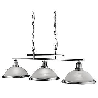 Sökarljus Bistro Satin Silver 3 ljus taket Bar hänge med syra glas nyanser