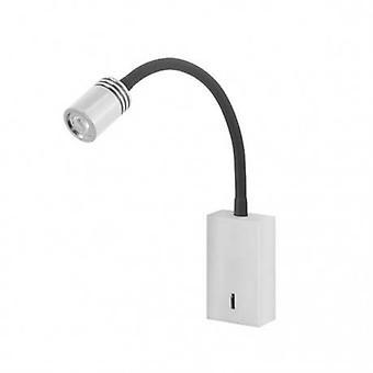 Led 1 Licht Indoor einstellbare Wandleuchte Leselampe weiß, Satin Nickel