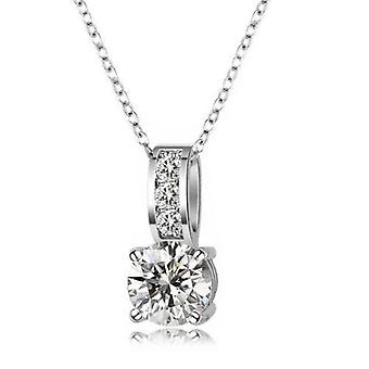 18k white-gold plated drop necklace