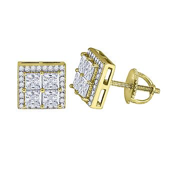 925 Sterling Silver Mens Yellow tone CZ Princess Cut Square Stud Earrings Measures 8.7x8.7mm Wide Jewelry Gifts for Men
