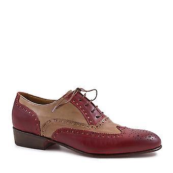 Kvinner's vingespiss sko håndlaget rød/røkelse