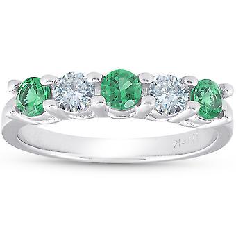 3 / 4ct Emerald & Diamond giftering for 5-stein 14K hvitt gull