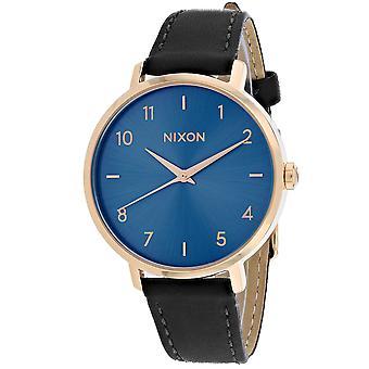 Nixon Mujeres's Flecha cuero azul reloj - A1091-2763