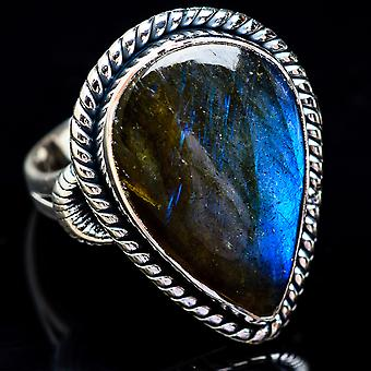 Large Labradorite Ring Size 9 (925 Sterling Silver)  - Handmade Boho Vintage Jewelry RING3605