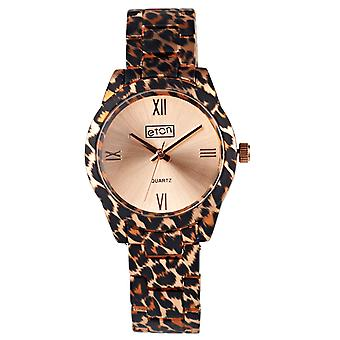 Eton Womens Rose Gold Tone Leopard Print Bracelet Fashion Watch - 3256J-LPRG