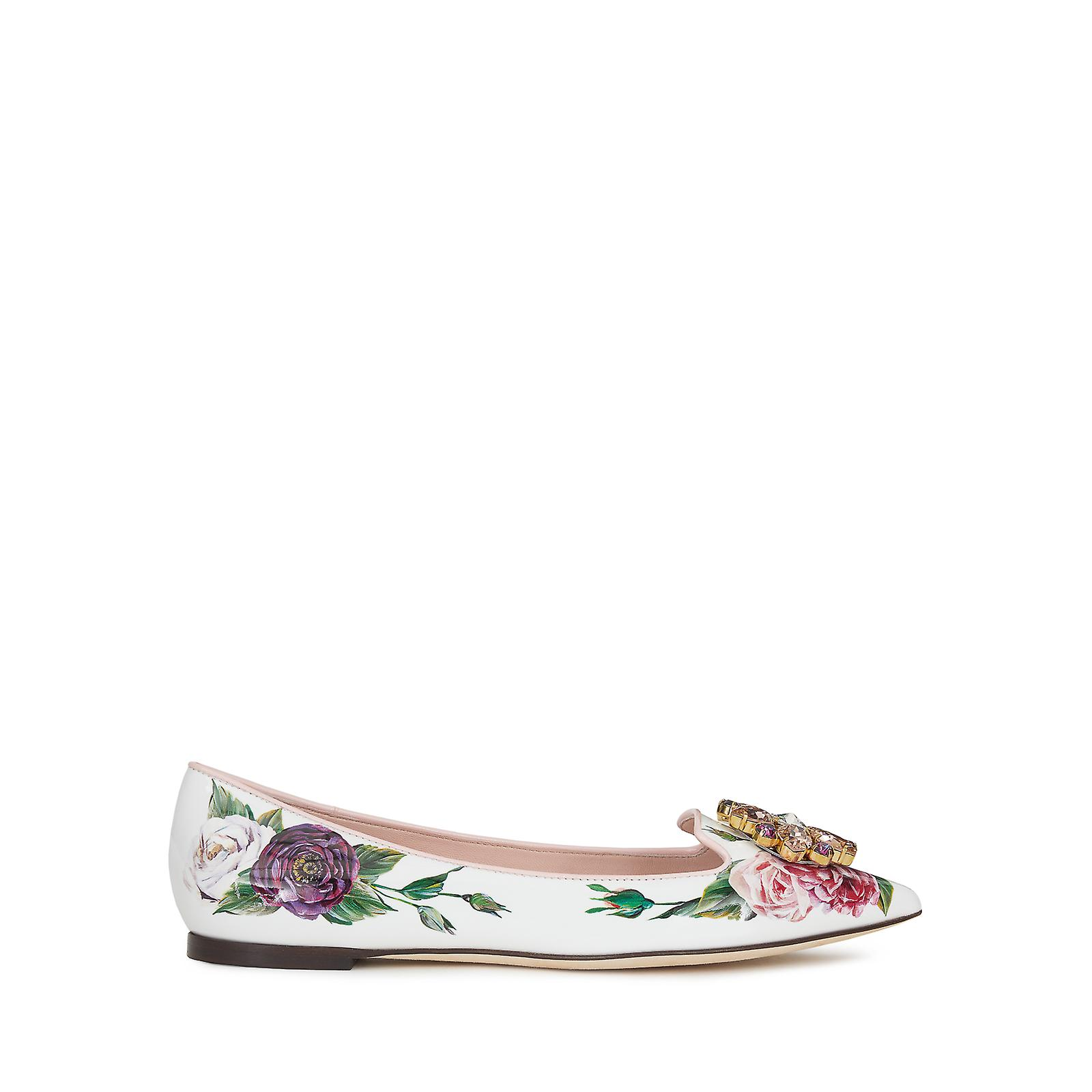 Dolce & Gabbana Pointed Slippers In Floral Printed Patent Leather seqLp