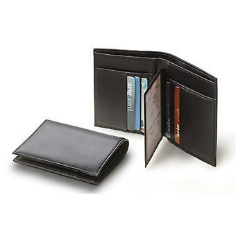 Men's černá italská kožená peněženka kreditní karty ID