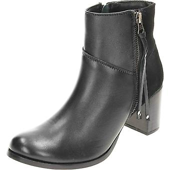 Comfort Plus Wide Fit Leather Suede Heeled Ankle Boots