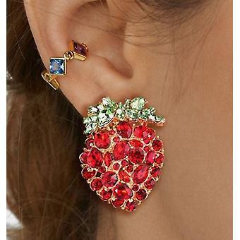 Vergulde oorbellen in de vorm van aardbeien - met steentjes