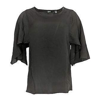 Dennis Basso Women's Top (XXS) Camiseta tejida con mangas de cabo negro A350766