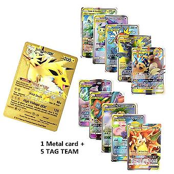Metal Pokemones Game Anime Battle Card Gx Tag Team - Gold Metal Card With Box - Charizard Tag Team Collection Cards