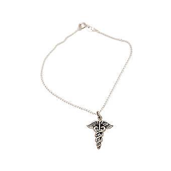 GEMSHINE Armband Caduceus Hermesstab, Äskulapstab 925 Silber, vergoldet, rose