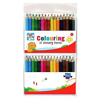Pack of 32 Assorted Mini Colouring Pencils