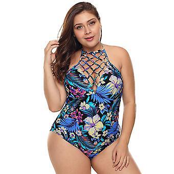 Womens Plus Größe Ein Stück Badeanzüge Floral Tummy Control Bademode Neckholder Mon...