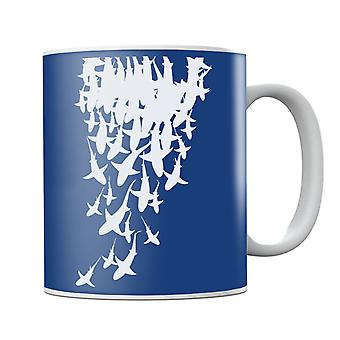 School Of Sharks White Mug