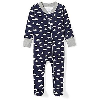 Moon and Back Baby Organic Footed Zip-Front Sleep and Play, Navy Cloud, Newborn