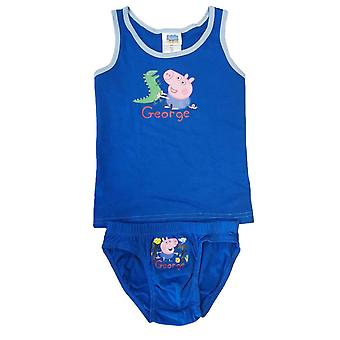 Peppa pig george kids underwear vest and briefs set (sizes 3 to 8 years)