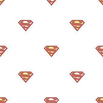 Galerie Wallcoverings Galerie Official Superman Logo Pattern Superhero DC Comics Childrens Red White Wallpaper