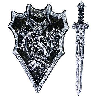 Knight Set 2kpl. Carnival Weapon Pojat Lapset Aseta Shield Miekka lisävaruste