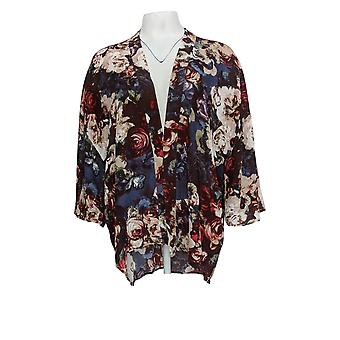 Laurie Felt Women's Sweater Open Front Printed Kimono Navy Blue A309543