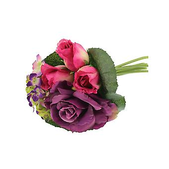 Hot Pink and Purple Artificial Fabric Short Stem Rose & Hydrangea Bouquet