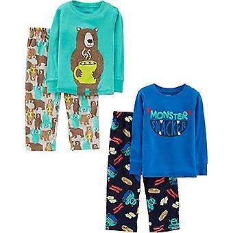 Simple Joys by Carter's Boys' Toddler 4-Piece Pajama Set, Monster/Bear, 3T