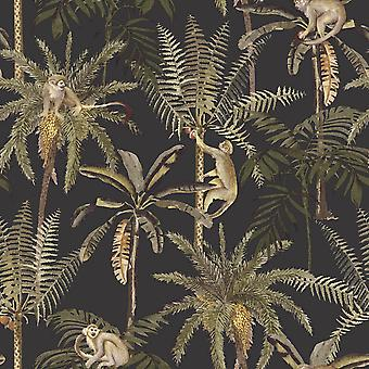 Ateles Tropical Wallpaper Black Holden 91102