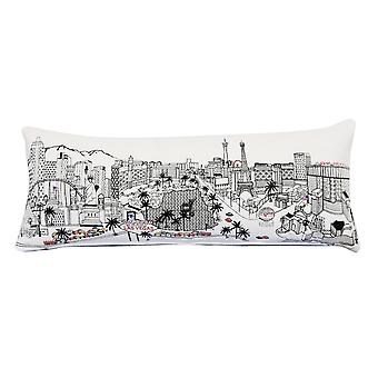 Spura Home LAS VEGAS Skyline Embroidered Wool Queen Day/Night  Cushion