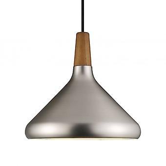 1 Light Medium Dome Ceiling Pendant Brushed Steel, Oiled Walnut, E27