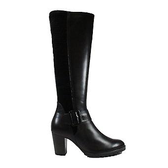 Caprice 25607 Black Leather Womens Knee High Boots
