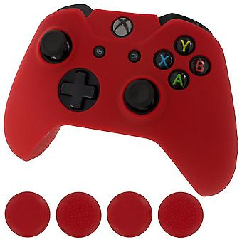 Zedlabz silicone rubber skin grip cover & thumb grip pack for xbox one controller - red