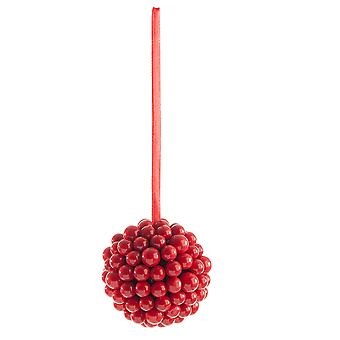 Single 8cm Cluster Berry Bauble - Red