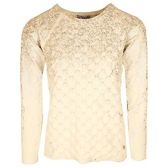 Passioni Off White Dragon Scale Effect Knitted Jumper With Silver Detail
