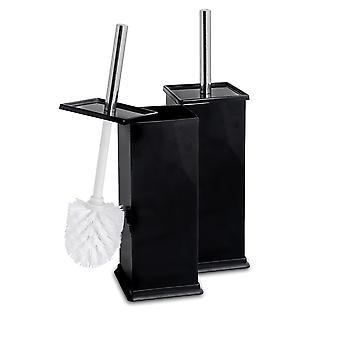 Square Steel Bathroom Toilet Brush & Holder Set - Black - Pack of 2