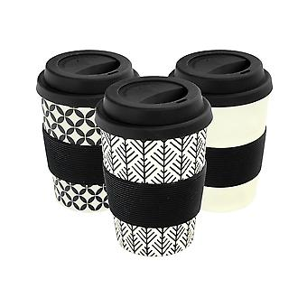 Reusable Coffee Cups - Bamboo Fibre Travel Mugs with Silicone Lid, Sleeve - 350ml (12oz) - Black - x 6